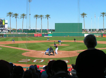 In the Shade Behind Home Plate at Goodyear Ballpark