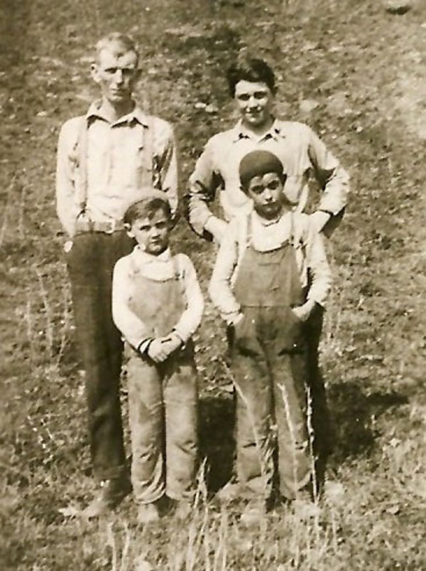 (back) Wesley, Calven, (front) Russell, and Elzi Wiles
