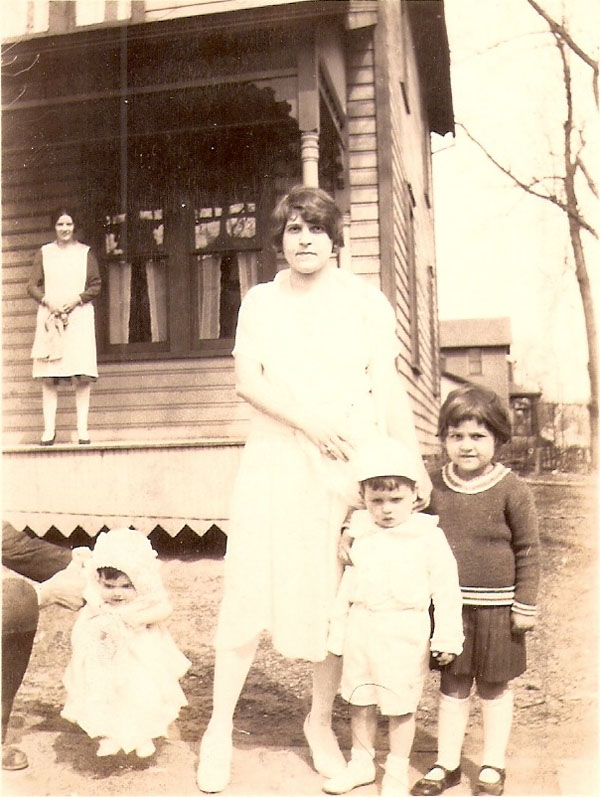unknown on porch, Helen Agusta, Marie, Mark Twain and Anita Camodeca