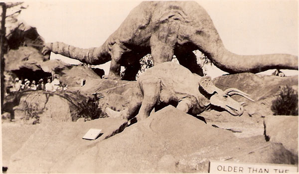 Brontosaurus, unknown people and Triceritops